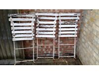 6 original French cafe garden chairs, metal frame, wooden slats, in need of repair
