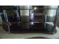 Black glass 3 tier Tv unit