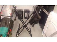 Pair of keyboard stands 1x double, 1x single