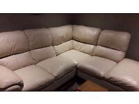 Cream Leather Corner Sofa and footstool available 8 Dec