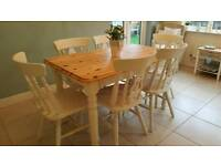 Shabby chic farmhouse pine table and 6 chairs Laura Ashley White