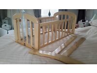 John Lewis Anna swinging crib with premium mattress and 2 fitted sheets **excellent condition**