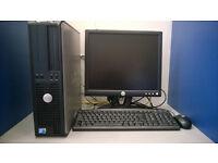 Dell PC set, Intel Dual-Core 2.60 GHz, 4GB RAM, 80GB HDD, DVD, Windows 10, monitor