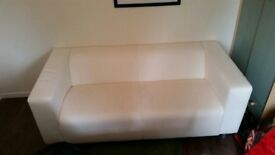 Ikea Klippan sofa white faux leather