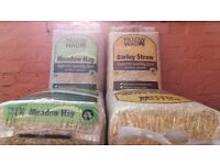 4 Large unopened bags of Barley Straw and Meadow Hay