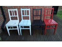 Four gorgeous vintage shabby chic chairs