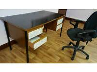 Solid wood office desk with 4 drawers