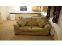 DFS Beige 3 Piece Suite including foot stool and sofa bed