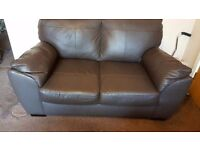 Brown leather 2 seater & single chair