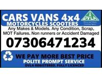 ☎️💷 CARS VANS WANTED CASH ON COLLECT TODAY ANYTHING CONSIDERED SCRAP DAMAGED NON RUNNER BEST PRICE