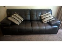 X2 brown Italian leather sofas bereavement forces sale as new will buy if seen