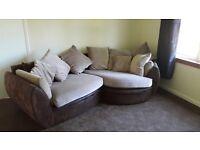 Cream & brown corner sofa