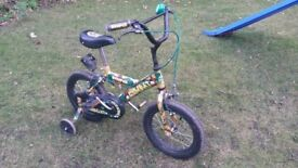 "Boys Camouflage / Army Bike with Stabilisers. 13"" wheels. Suit 3 to 5 Year old"
