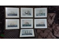 7 prints of various ships