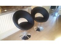 Pair of Office/Reception Visitors' Chairs. Black/chrome