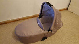 Joie Chrome Carrycot with mattress, hood, apron and raincover included. Excellent condition.