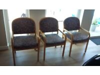 3 Dining Chairs - 2 with arms, 1 without