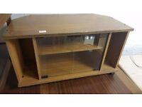 Glass-fronted Retro Wood Veneer TV Unit