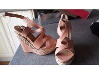 Pink sandals wedge heel