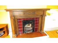 Vintage (Victorian?) wood fire surround, dog grate and firebrick