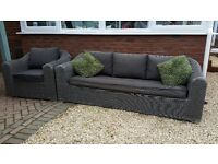 3 seater garden sofa with chair and glass top coffee table