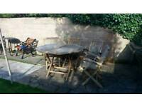 Teak solid wood garden table and chairs