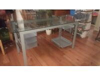 Glass and metal computer table