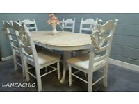 Stunning Oval Extending Table and Six chair Set
