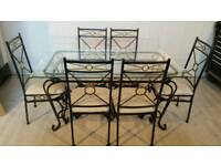 Glass and Metal Dining Table and 6 Chairs