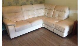 Cream / off white leather corner sofa 5 seats