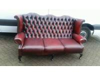 Chesterfield oxblood leather Queen Anne wingback sofa. BARGAIN!