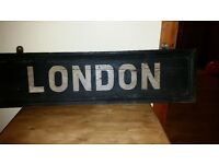 Antique wooden painted London sign