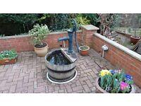 Garden/ Patio Half Water Barrel with Iron Pump