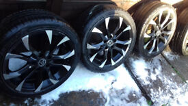 Set of 4 Black Wolfrace Alloy Wheels & Tyres