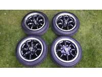 "JBW 13"" Minilight Alloy Wheels in Black with Chrome Rims for Classic Austin Rover Mini & MG Metro"