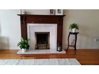 Mahogany and marble fireplace with matching mahogany mirror in very good condition