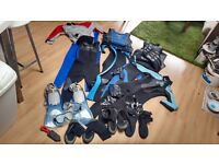 Small adult/teen/childrens wetsuits, fins&masks, spray top