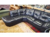 Black Leather Corner Sofa in Good Condition