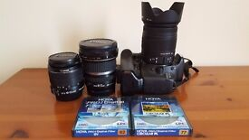 Canon 550d DSLR + 18-55mm + 18-250mm + 11-20mm wide angle lens + Filters + Accessories