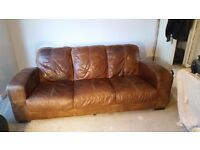 Real leather brown 3 seater couch sofa