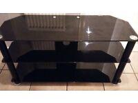 black glass corner television unit