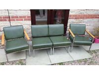 Set of 4 X Leather Waiting area chairs by Remploy.