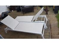 sun loungers pair white/cream