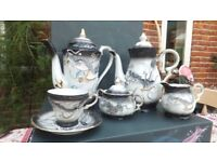 DECORATIVE CHINA COFFEE AND TEA SET- 8 PIECES- 18CM TALL- DRAGON, FAIRY, ABSTRACT DESIGN £25