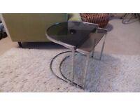 Vintage Retro Nest of 2 Tables Chrome / Smoked Glass