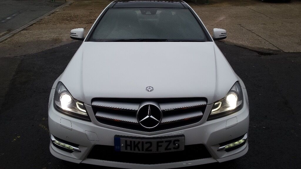 White mercedes benz c class coupe 2013 c180 blueefficiency amg sport coupe 2dr full mercedes - Mercedes benz c class sport coupe ...