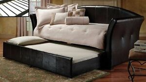 SALE 30% OFF - BRAND NEW BLACK LEATHER DAY BED SOFA COUCH