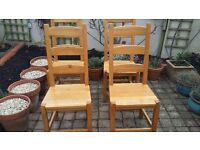 Solid oak dining chairs x4