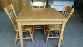 Square Extendable Dining Table and 3 Chairs