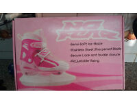 Childs Adjustable ice skates in pink and white - No Fear - Ice Hockey style blades